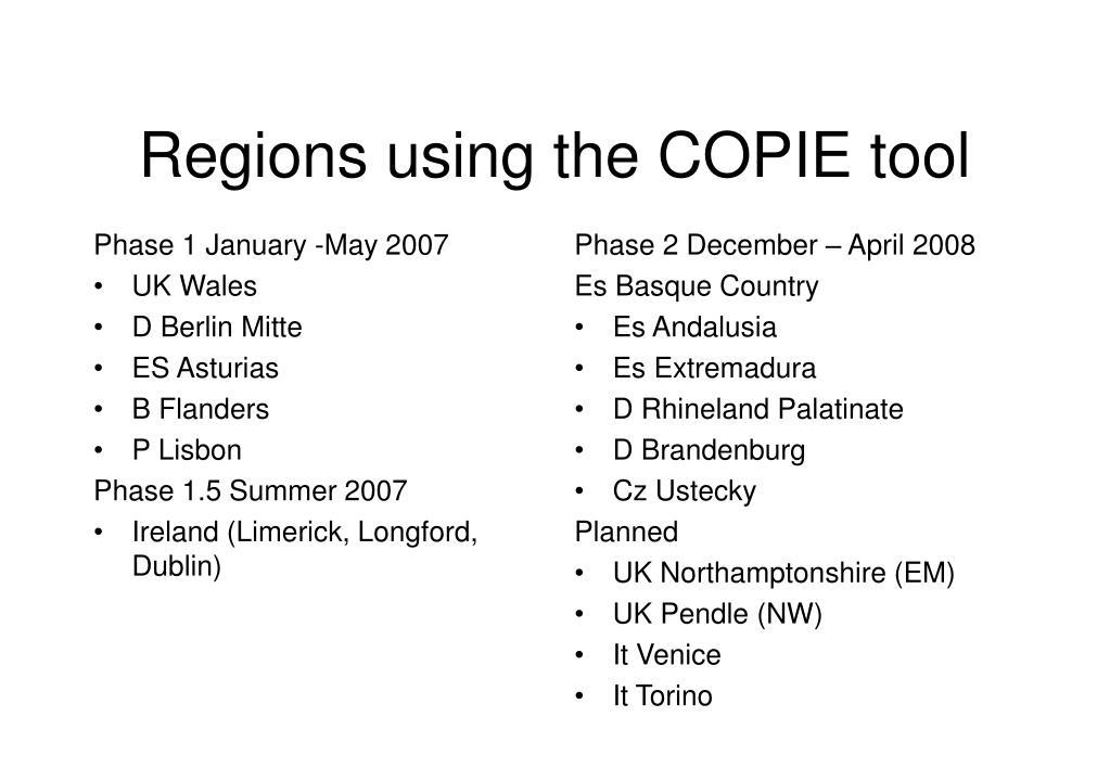 Regions using the COPIE tool