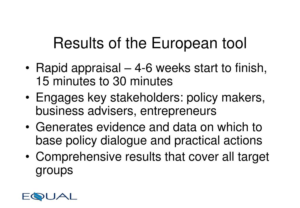 Results of the European tool