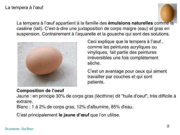 La tempera à l'œuf appartient à la famille des