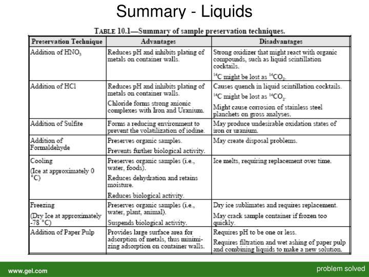 Summary - Liquids