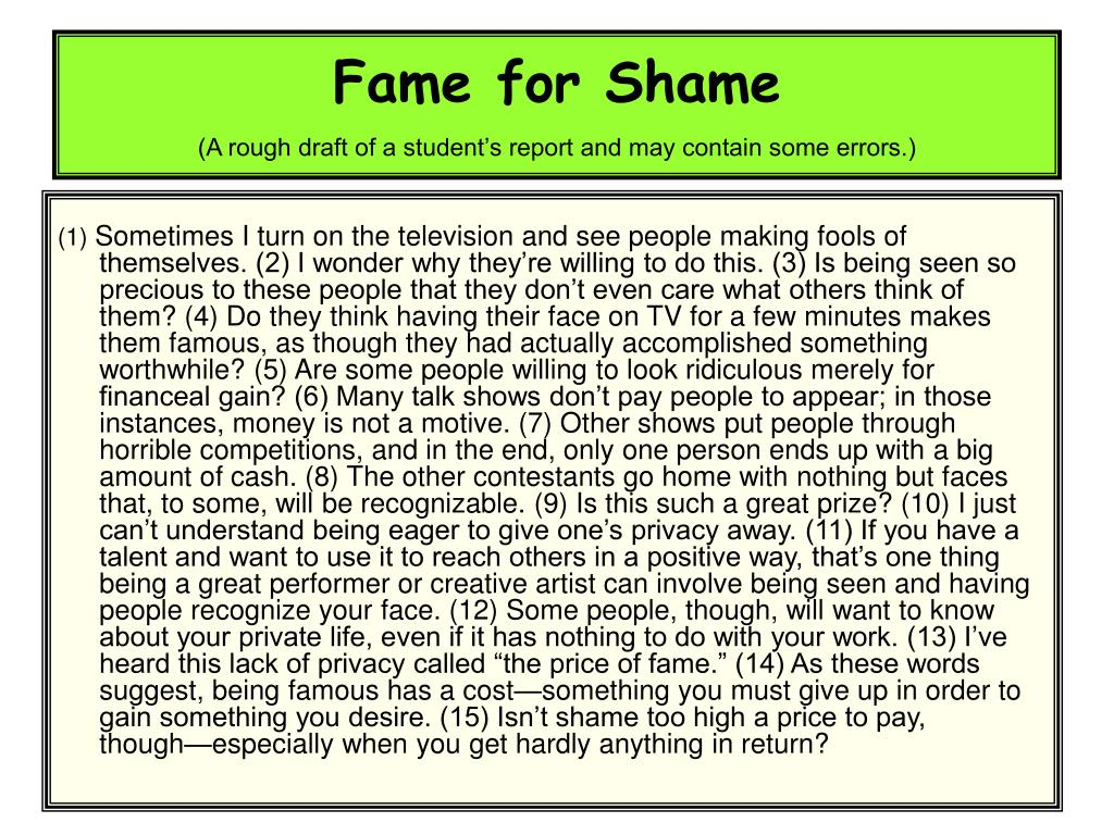 Fame for Shame