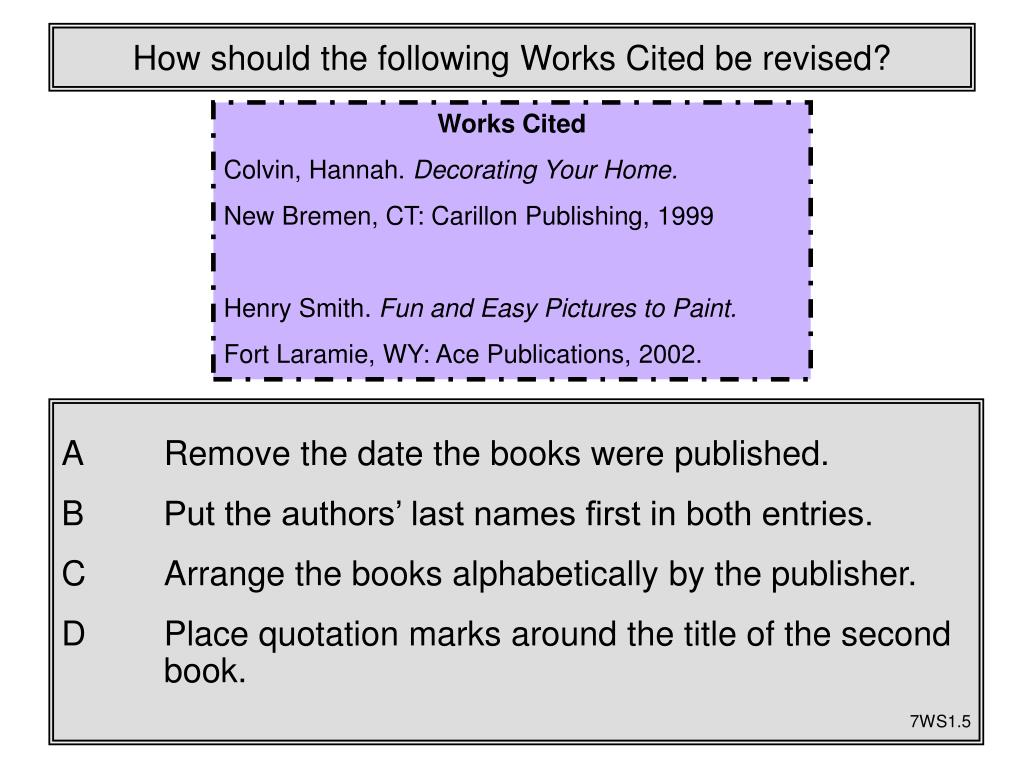 How should the following Works Cited be revised?
