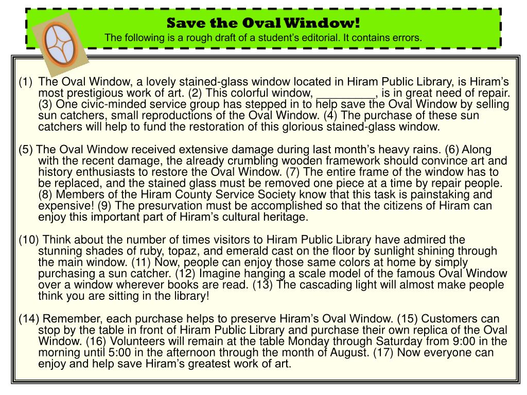 Save the Oval Window!