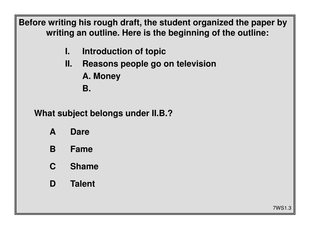 Before writing his rough draft, the student organized the paper by writing an outline. Here is the beginning of the outline: