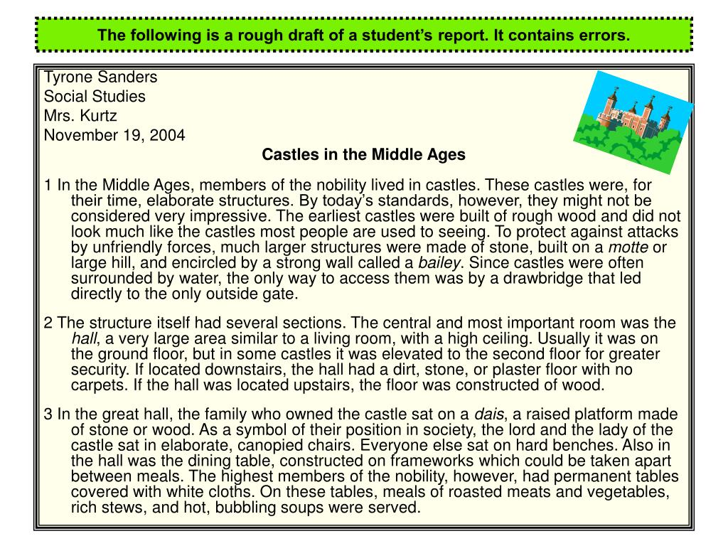 The following is a rough draft of a student's report. It contains errors.