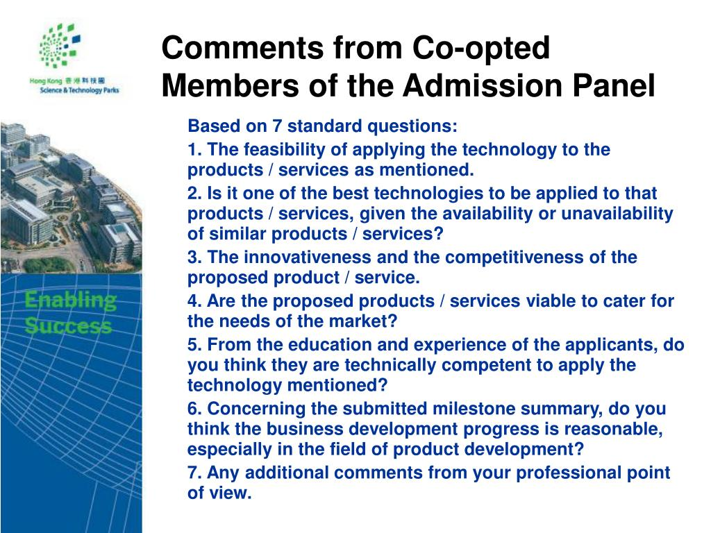 Comments from Co-opted Members of the Admission Panel