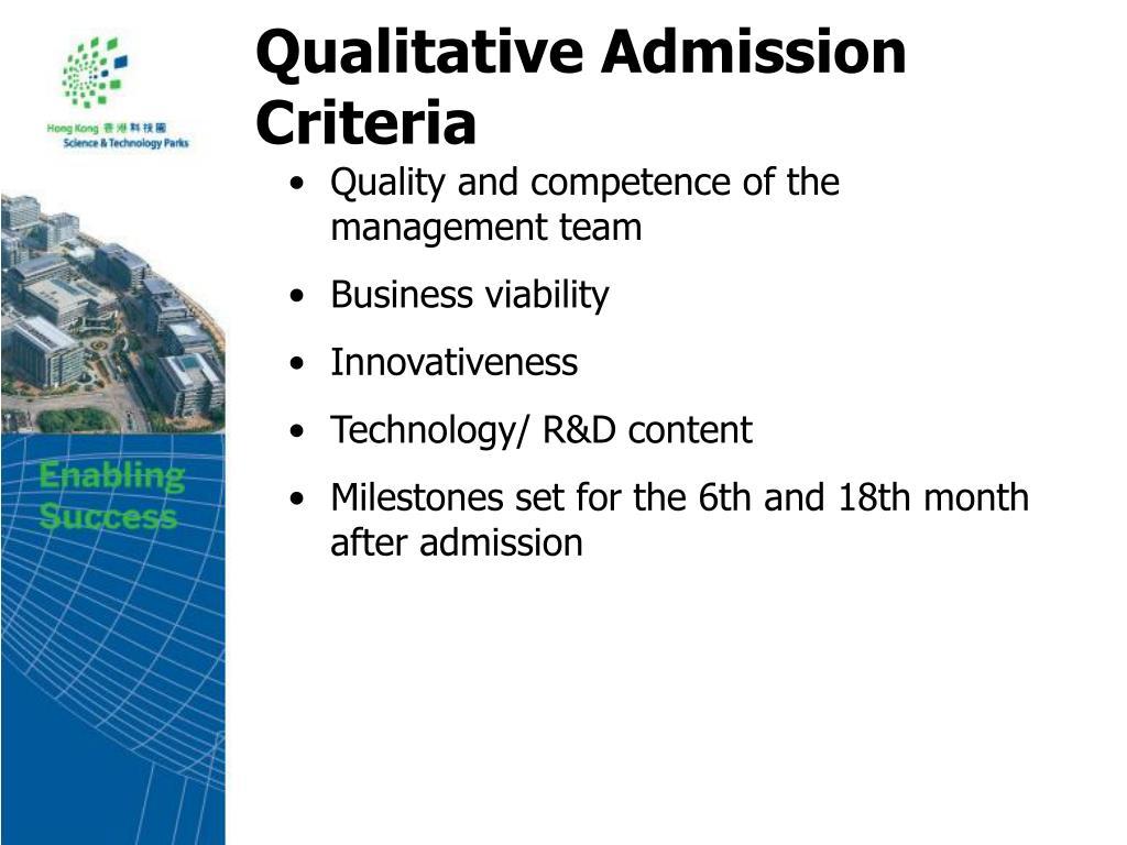 Qualitative Admission Criteria