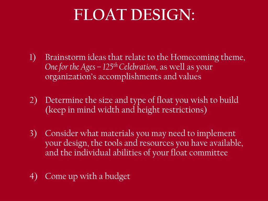 FLOAT DESIGN: