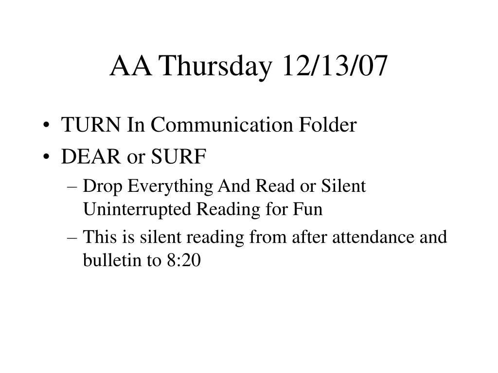 AA Thursday 12/13/07