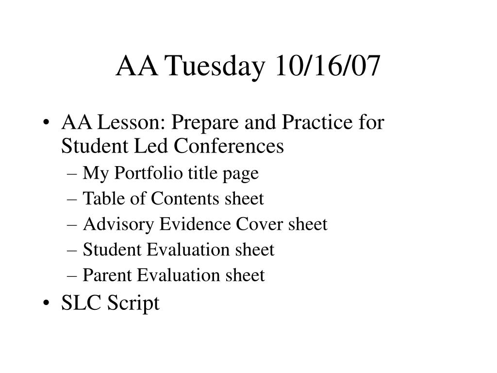 AA Tuesday 10/16/07