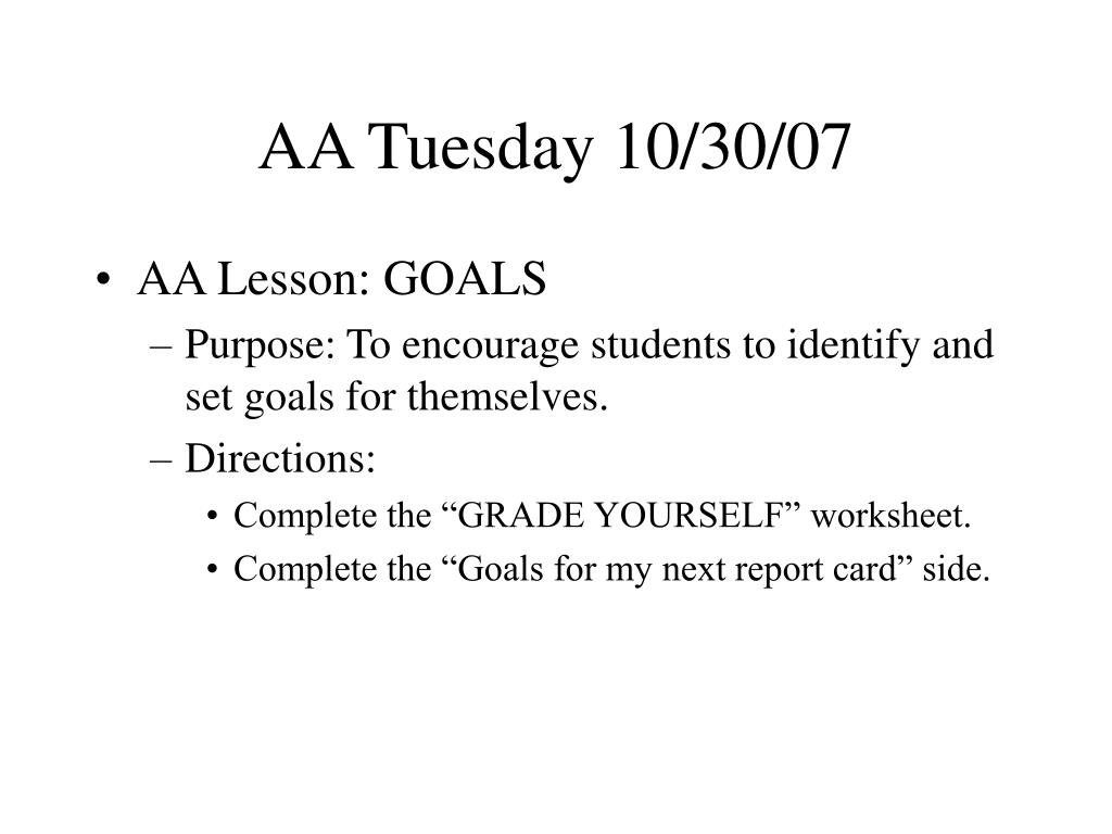 AA Tuesday 10/30/07