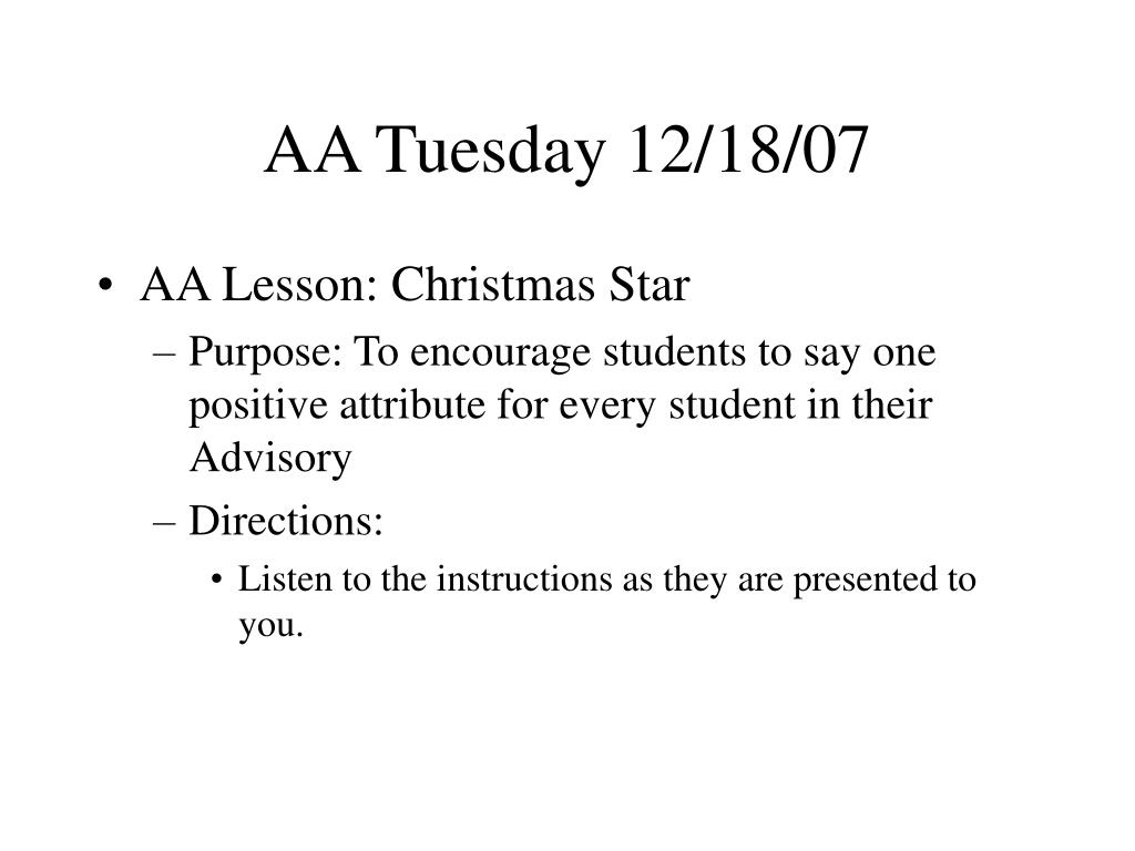 AA Tuesday 12/18/07