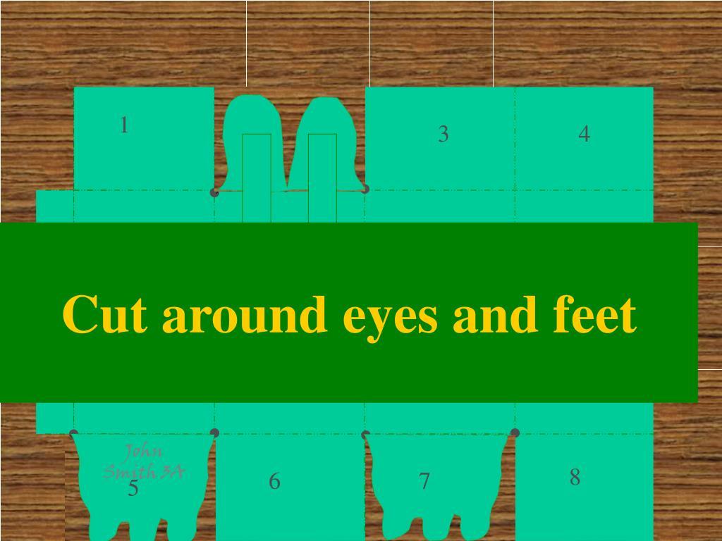 Cut around eyes and feet