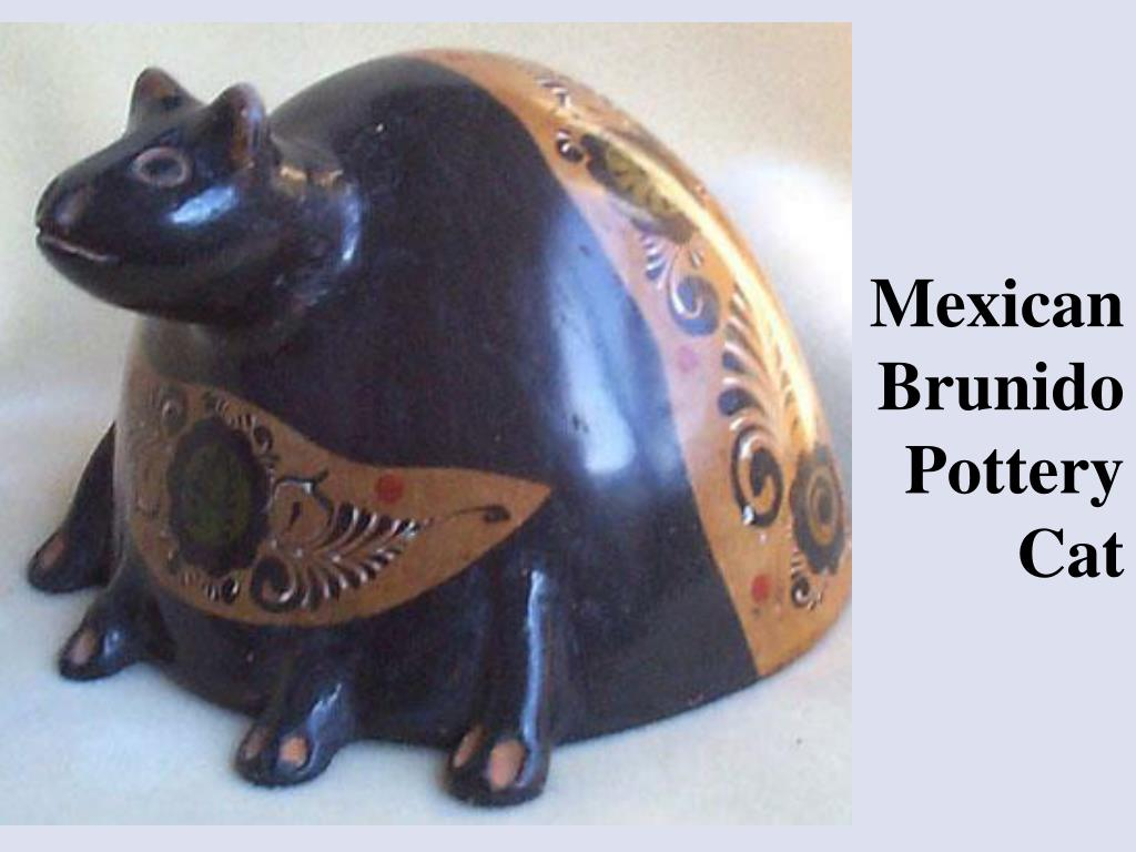 Mexican Brunido Pottery Cat