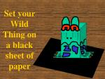 set your wild thing on a black sheet of paper