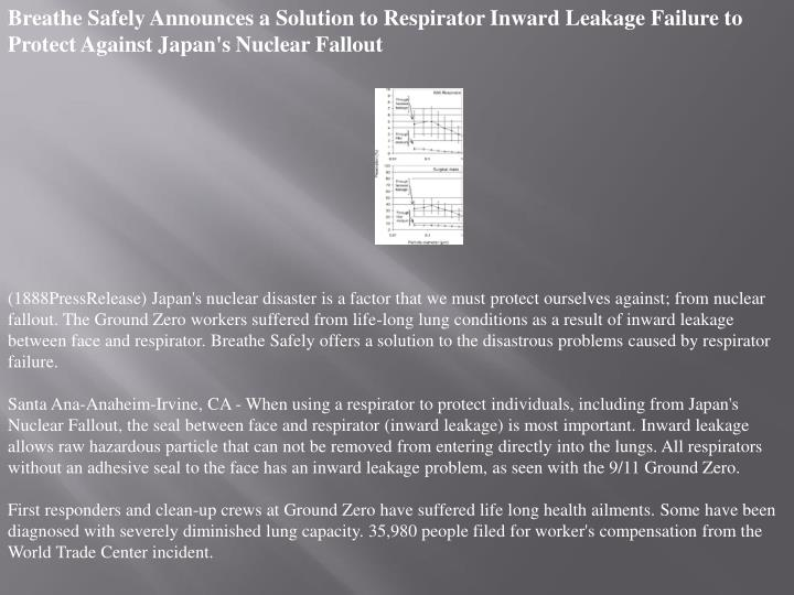 Breathe Safely Announces a Solution to Respirator Inward Leakage Failure to Protect Against Japan's ...