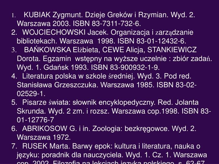 KUBIAK Zygmunt. Dzieje Greków i Rzymian. Wyd. 2.