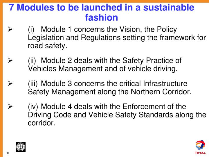 7 Modules to be launched in a sustainable fashion