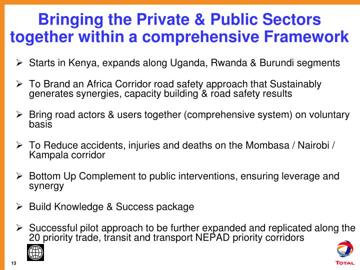 Bringing the Private & Public Sectors together within a comprehensive Framework
