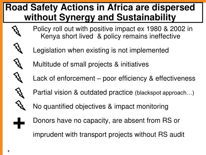 Road Safety Actions in Africa are dispersed without Synergy and Sustainability
