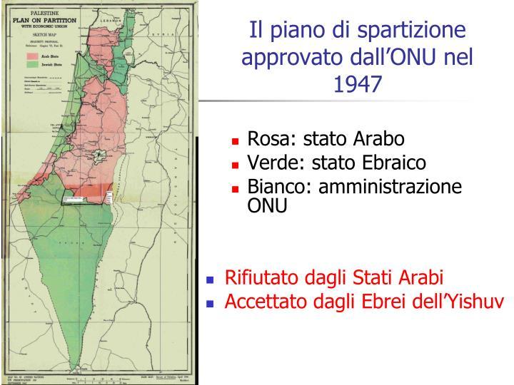 Il piano di spartizione  approvato dall'ONU nel 1947