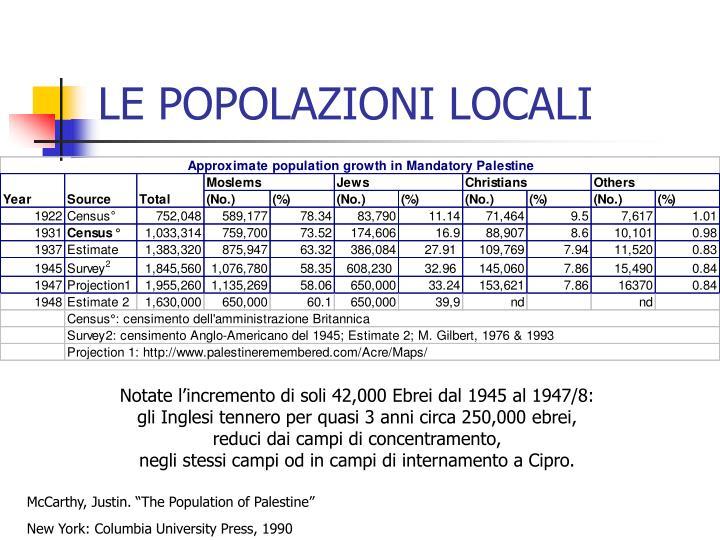 LE POPOLAZIONI LOCALI