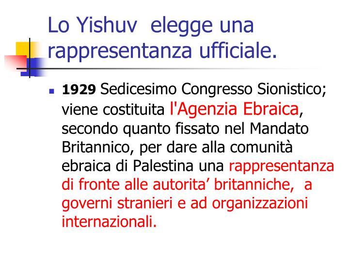 Lo Yishuv  elegge una rappresentanza ufficiale.
