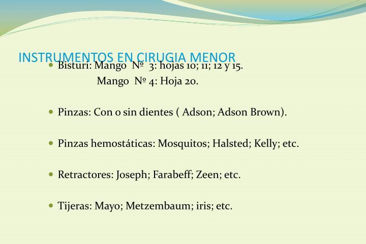 INSTRUMENTOS EN CIRUGIA MENOR