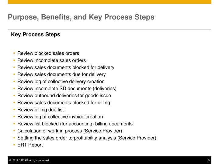 Purpose benefits and key process steps1