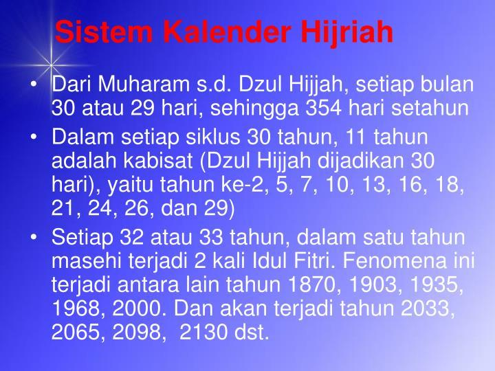Sistem Kalender Hijriah