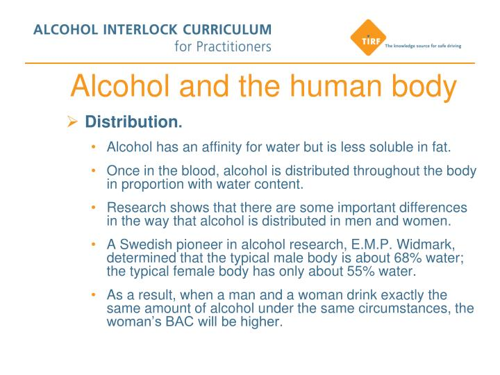 Alcohol and the human body