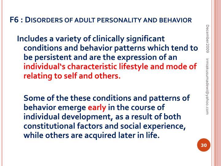 F6 : Disorders