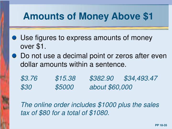 Amounts of Money Above $1