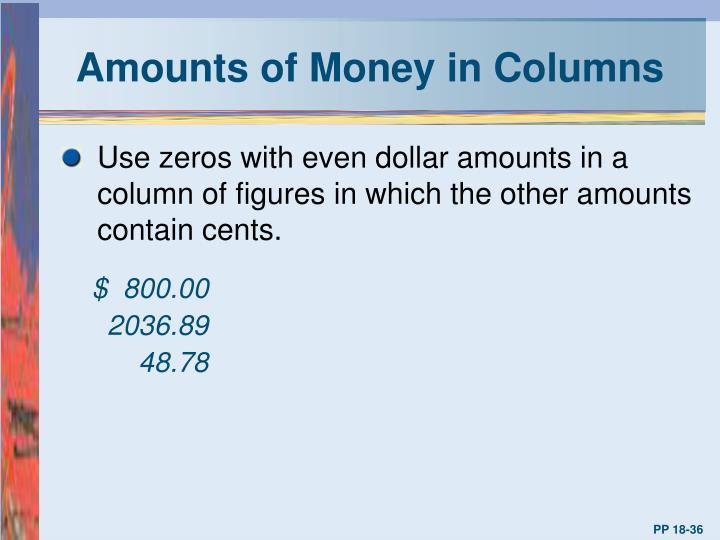 Amounts of Money in Columns
