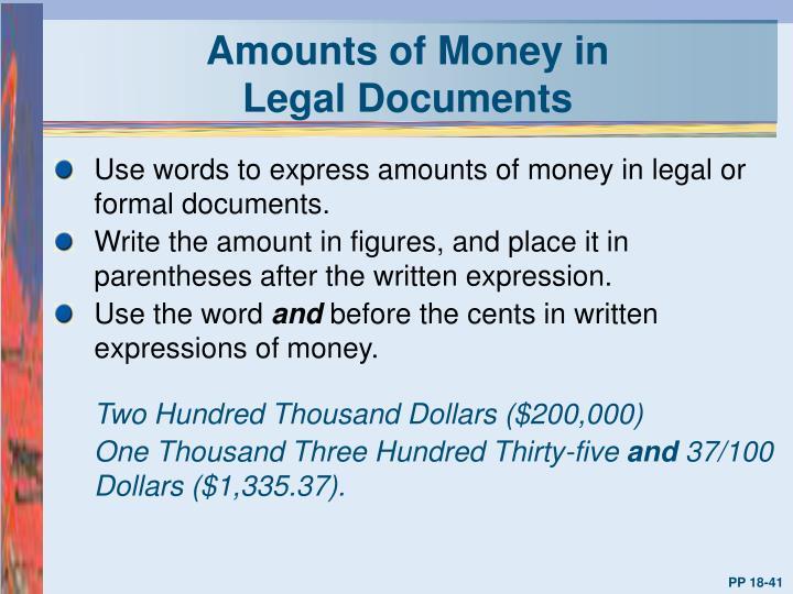 Amounts of Money in