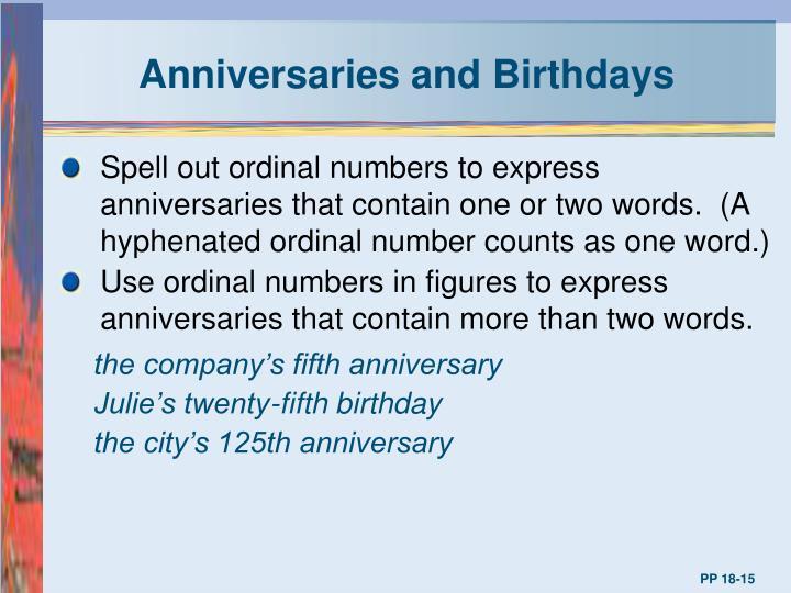 Anniversaries and Birthdays