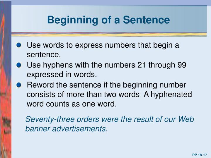 Beginning of a Sentence