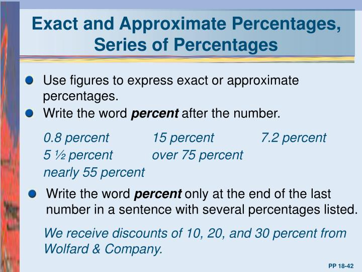 Exact and Approximate Percentages, Series of Percentages