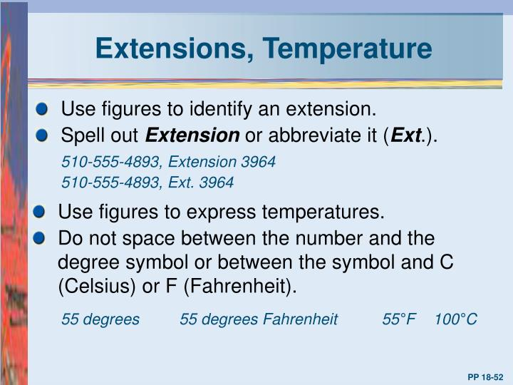 Extensions, Temperature