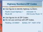 highway numbers zip codes
