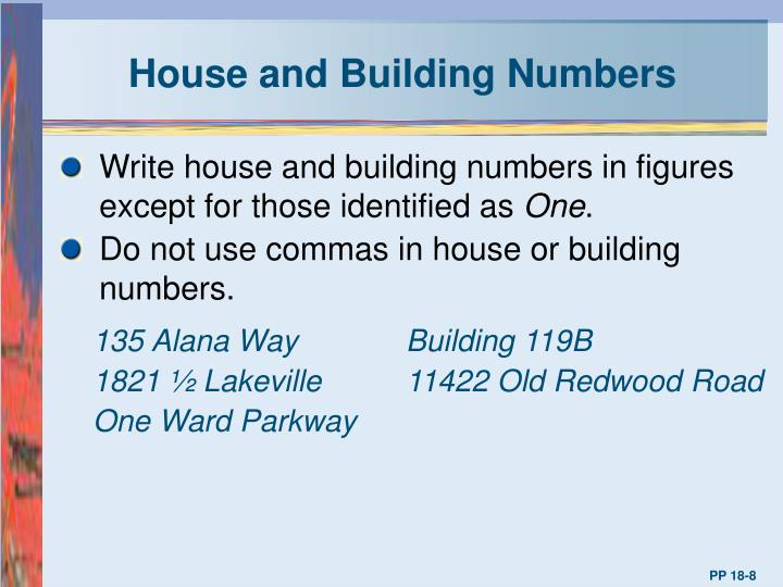 House and Building Numbers