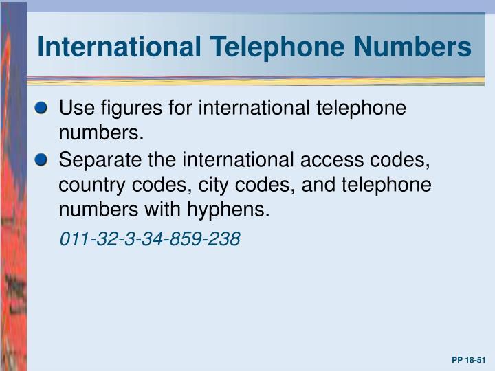 International Telephone Numbers