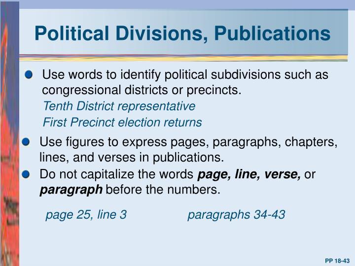 Political Divisions, Publications