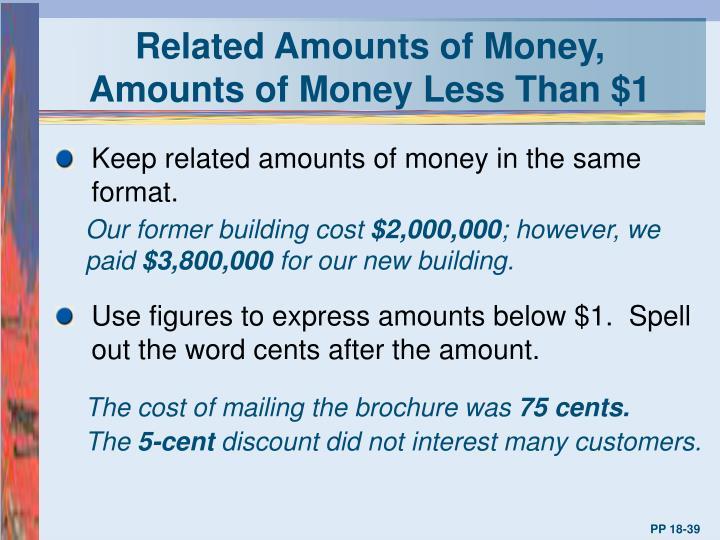 Related Amounts of Money,