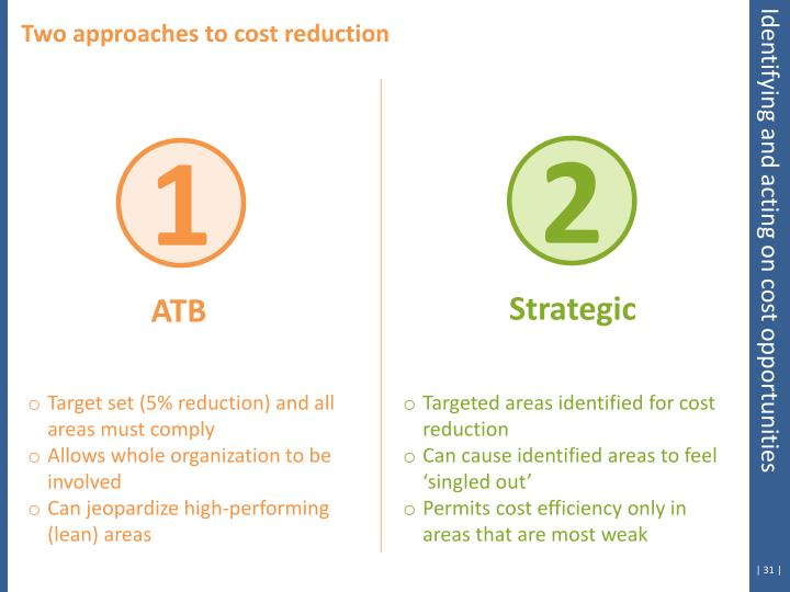 Two approaches to cost reduction