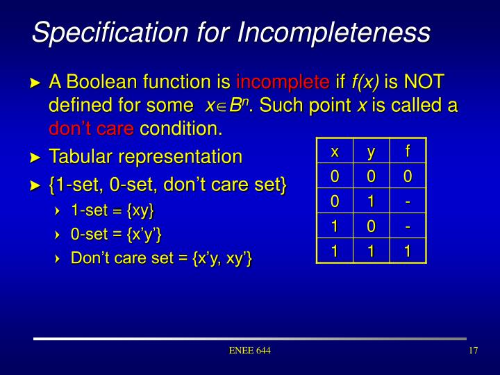 Specification for Incompleteness