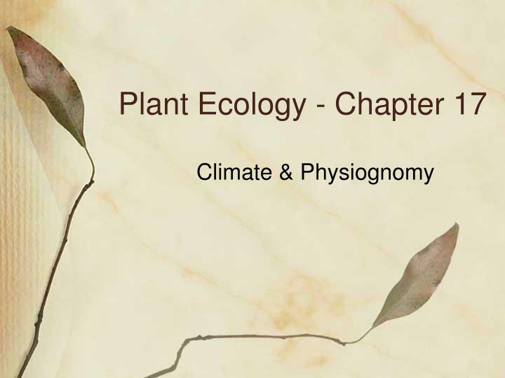 Plant ecology chapter 17