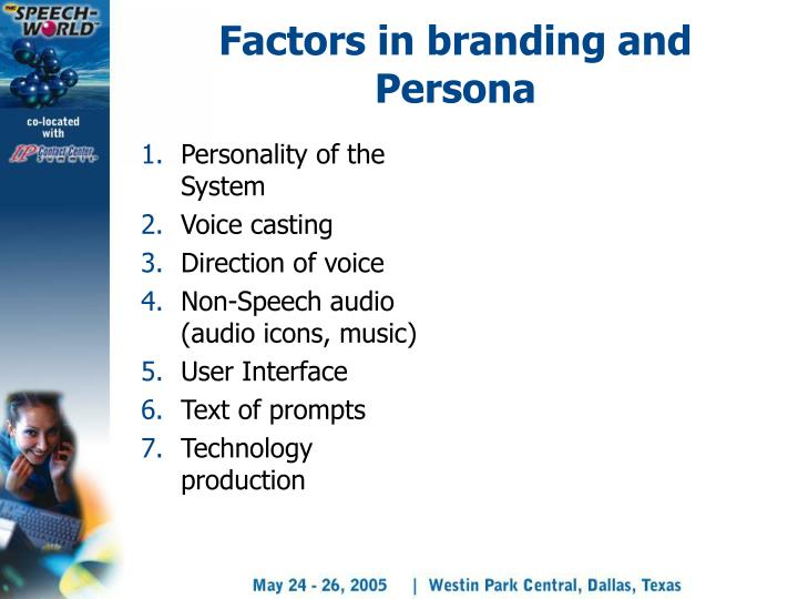 Factors in branding and Persona