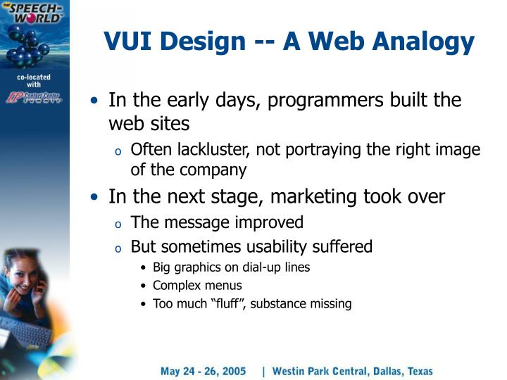 VUI Design -- A Web Analogy