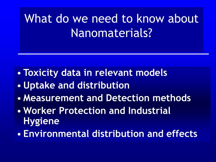 What do we need to know about Nanomaterials?